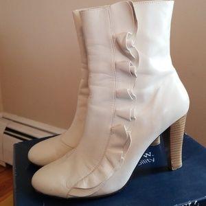 Cream ruffle boots